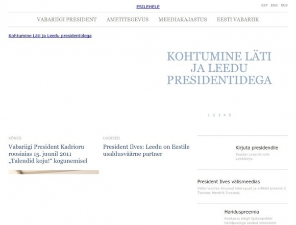 Eesti presidendi kodulehekülg - Website of Estonian President