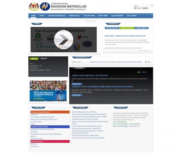 Laman Web Rasmi Bahagian Matrikulasi Kementerian Pelajaran Malaysia