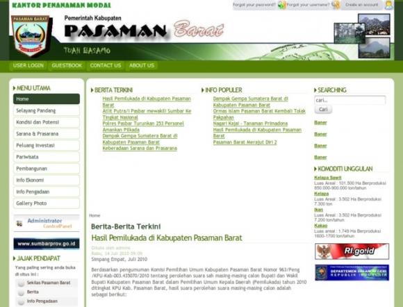 West Pasaman Regency of West Sumatera Province