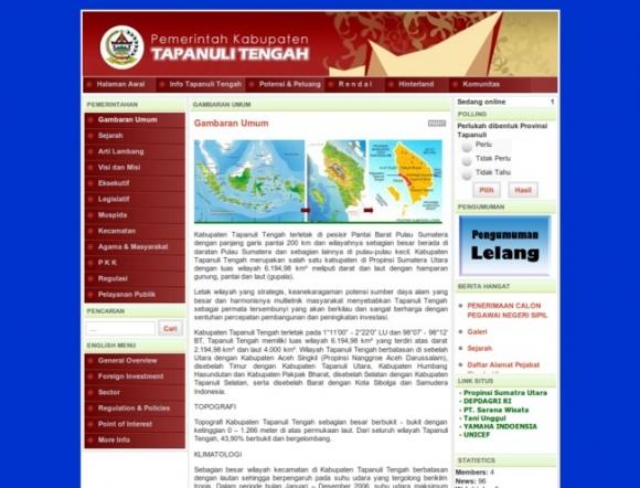 Central Tapanuli Regency of North Sumatera Province