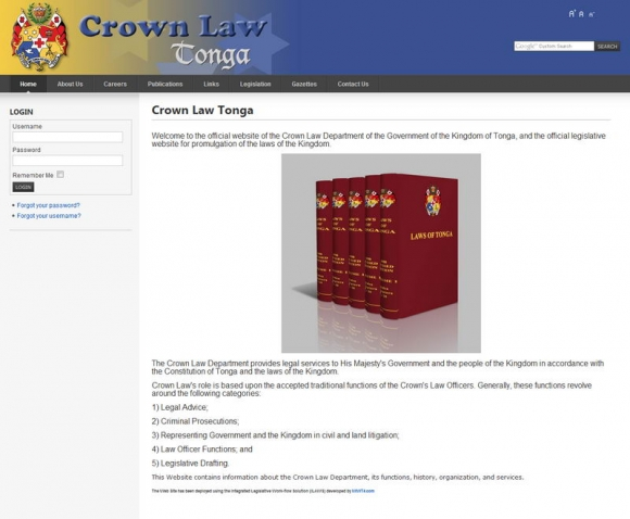 Crown Law Legislation Tonga